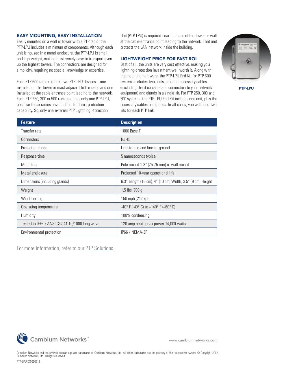 Document preview Cambium_PTP-LPU_DS-050312.pdf - page 2/2