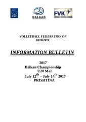 information bulletin u20 prishtina