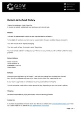 return policy globe travel pix