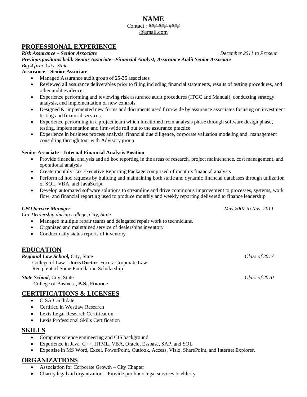 Document preview Resume for WSO.pdf - page 1/1