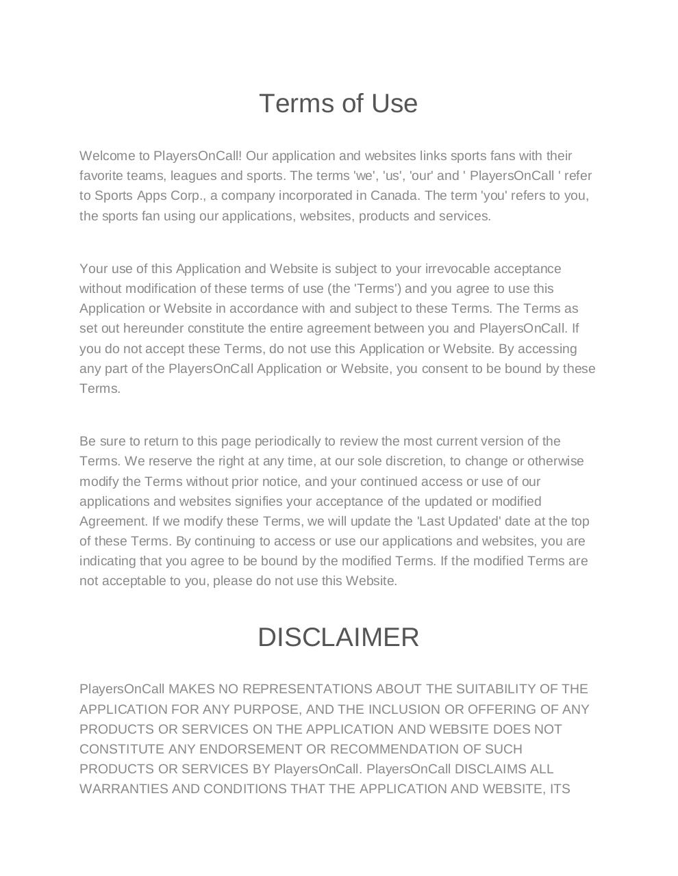 Terms of Use-Privacy policy - PlayersOnCall.pdf - page 1/13