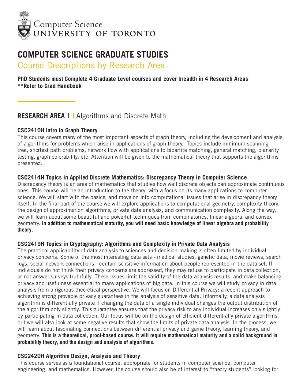 Grad CourseDescriptions ResearchArea - PDF Archive