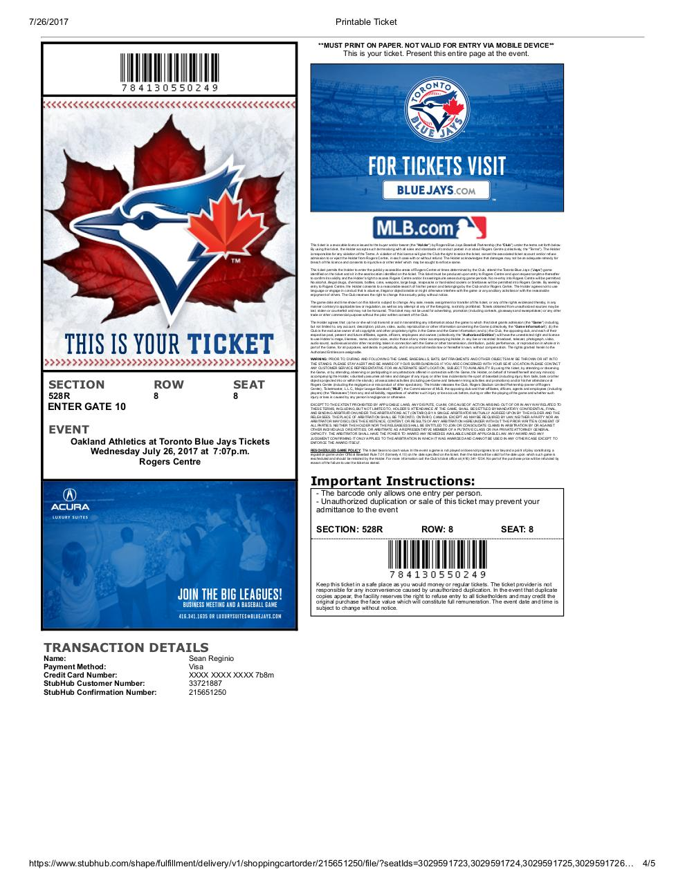 Document preview Printable Ticket.pdf - page 4/5