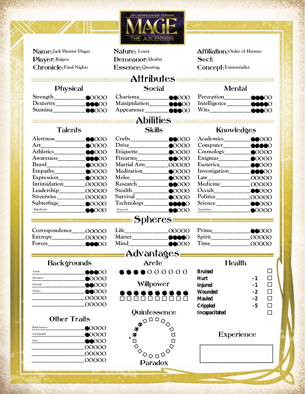 Mage The Ascension 20th Anniversary Edition Character Sheet By