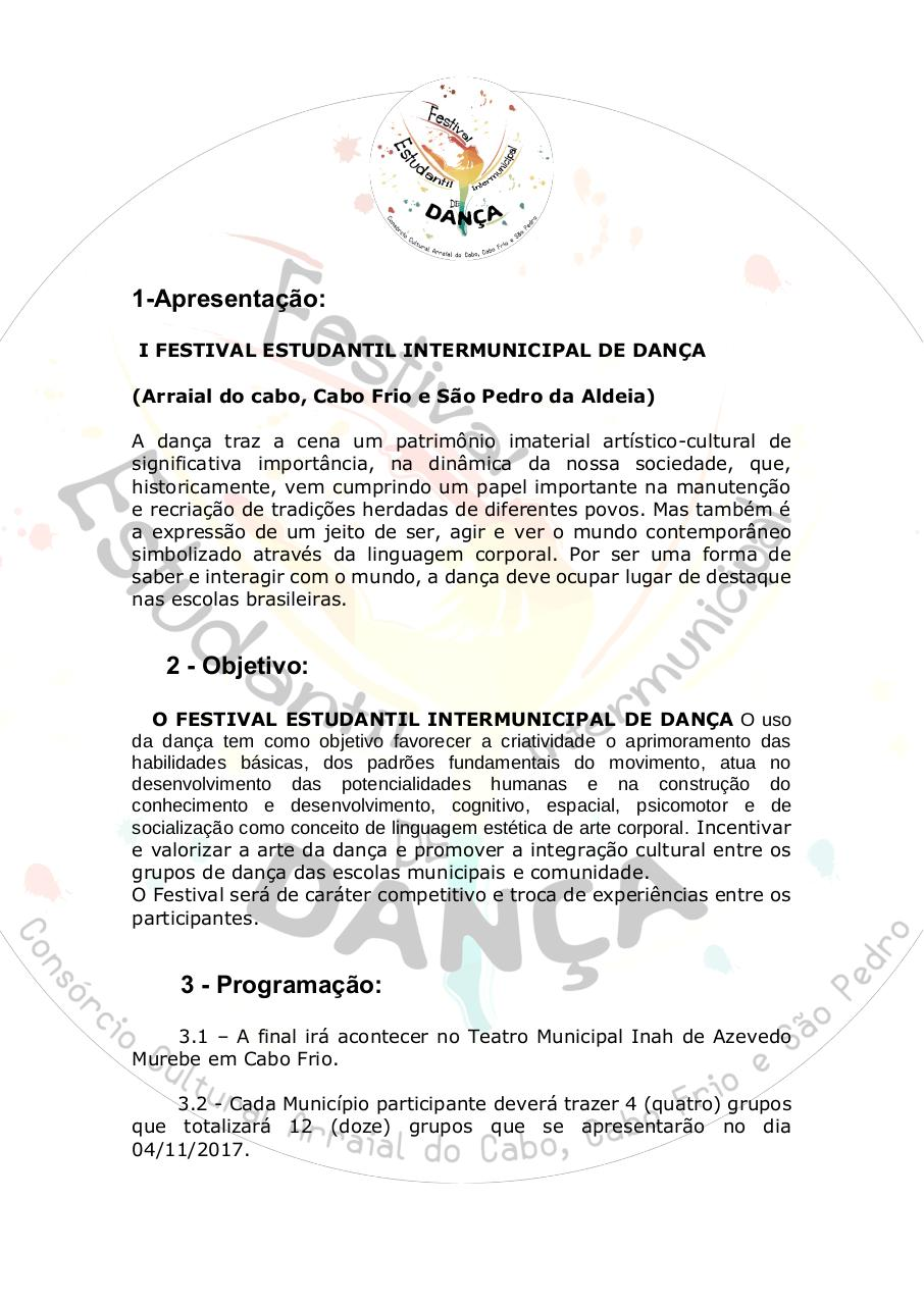 Document preview [EDITAL] I FESTIVAL ESTUDANTIL INTERMUNICIPAL DE DANÇA (.pdf - page 1/5