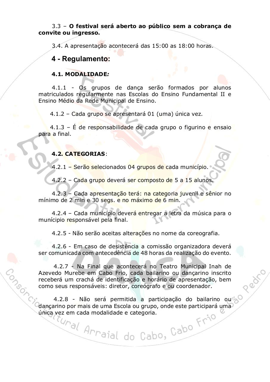 Document preview [EDITAL] I FESTIVAL ESTUDANTIL INTERMUNICIPAL DE DANÇA (.pdf - page 2/5