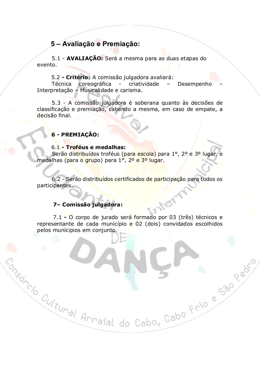 Document preview [EDITAL] I FESTIVAL ESTUDANTIL INTERMUNICIPAL DE DANÇA (.pdf - page 3/5