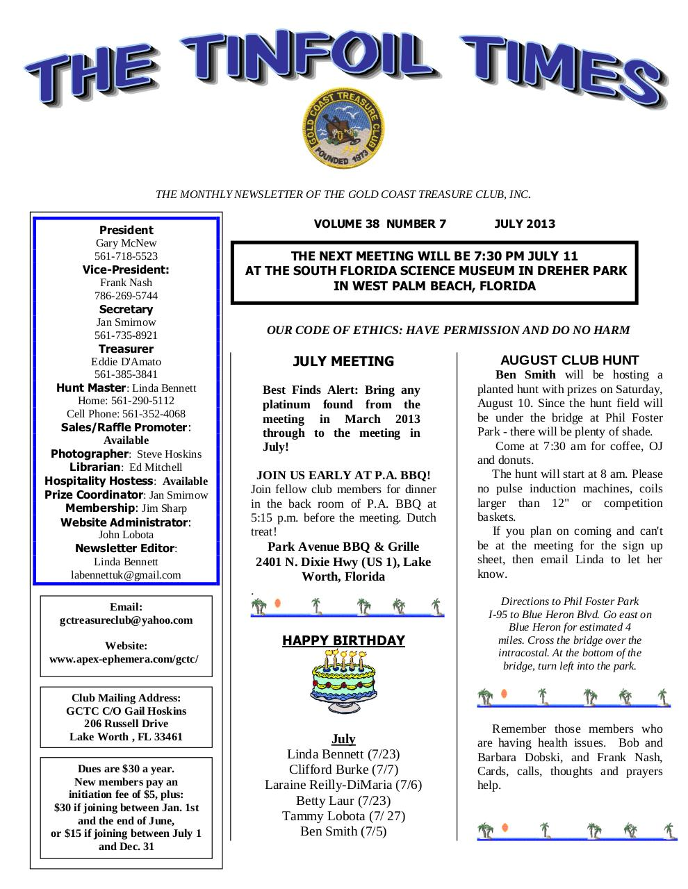 gctc 2013 july newsletter.pdf - page 1/5