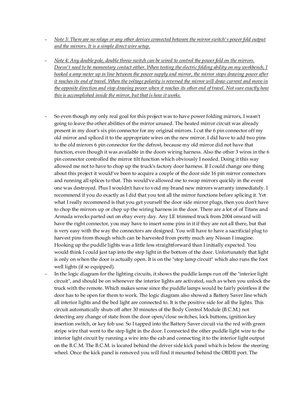 Document1 by I808666 - NISSAN TITAN POWER FOLDING MIRROR INSTALL ...