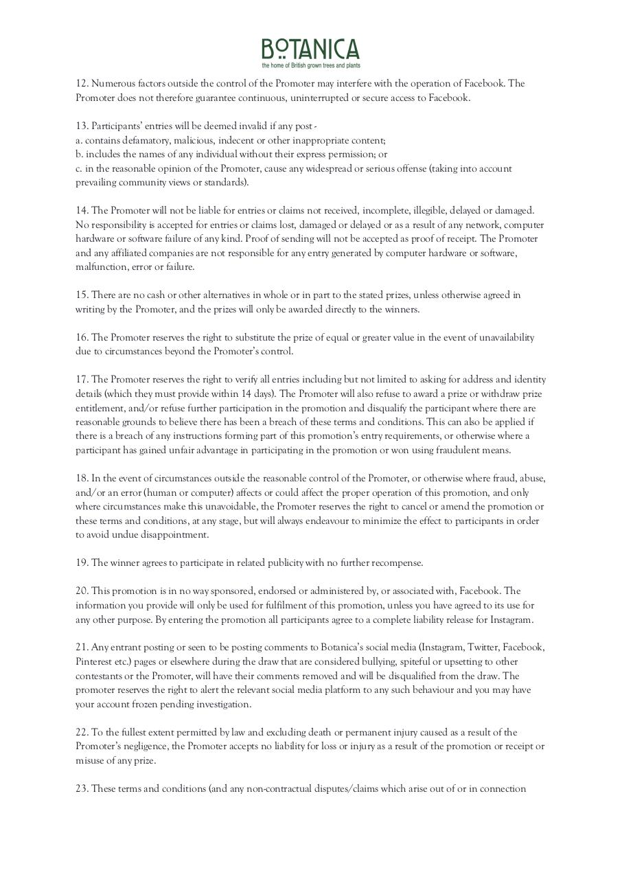 Document preview Facebook Competition – Terms and Conditions.pdf - page 2/3