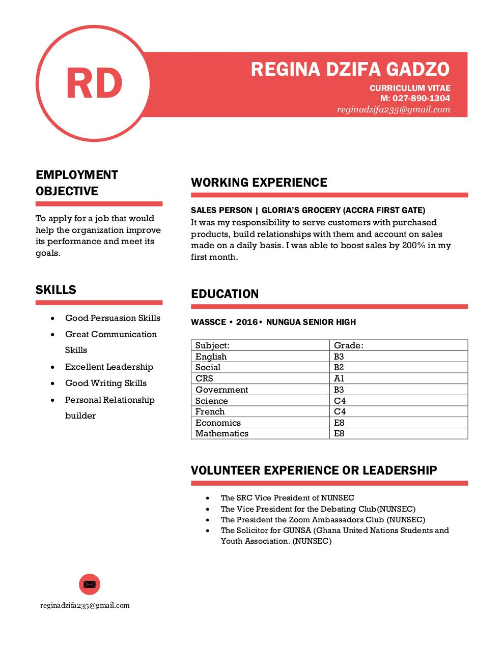 Document preview REGINAS CV.pdf - page 1/2