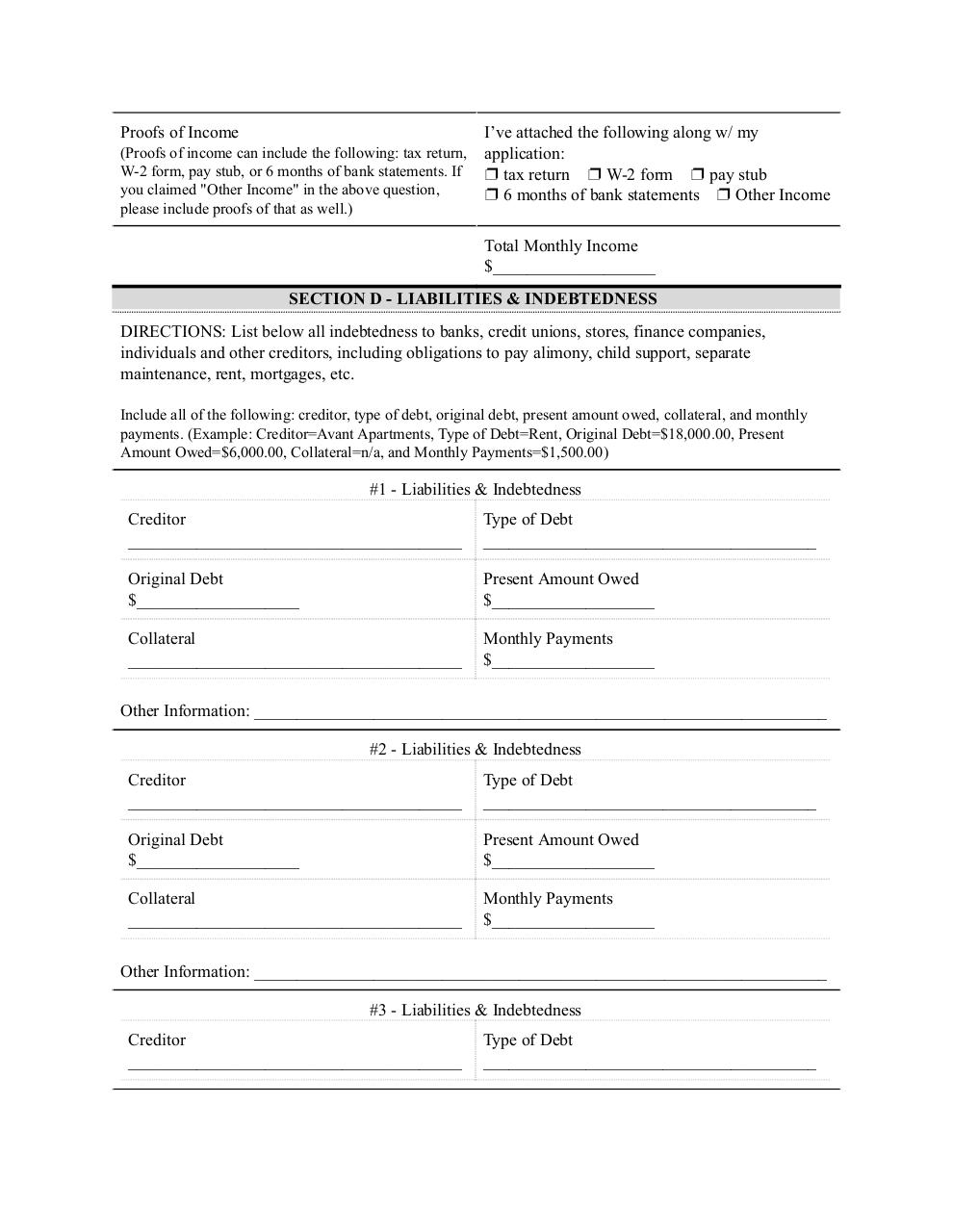 Document preview Loan Application.pdf - page 2/4