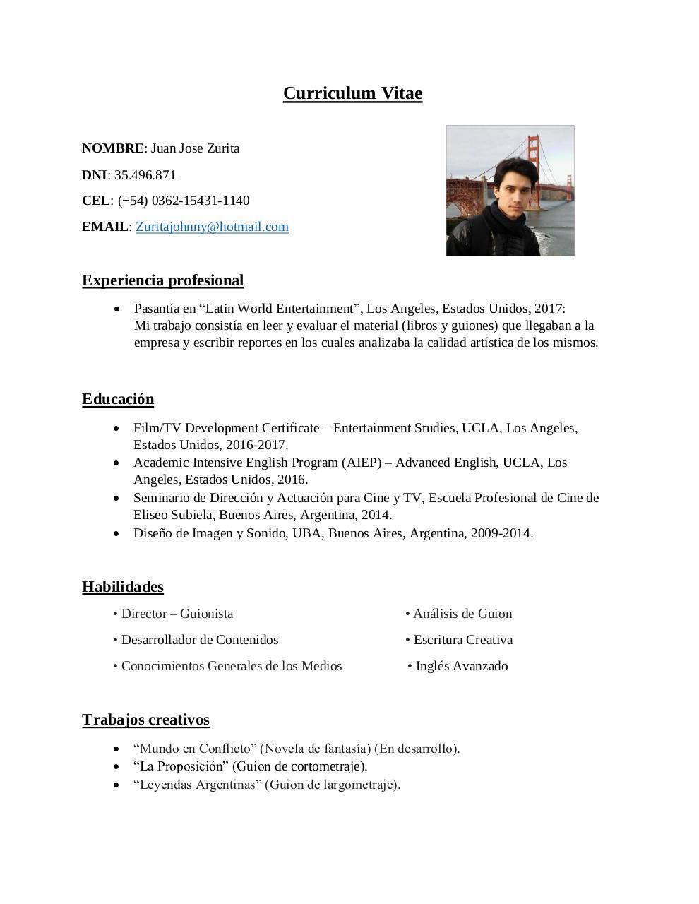 Cv Juan Jose Zurita By Johnny Zurita Pdf Archive