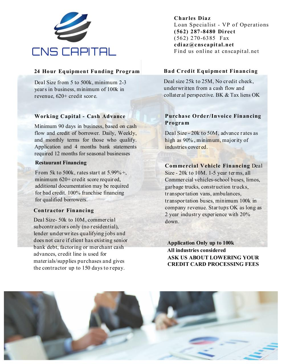 Document preview CNS Capital CONSTRUCTION EQUIPMENT.pdf - page 1/2