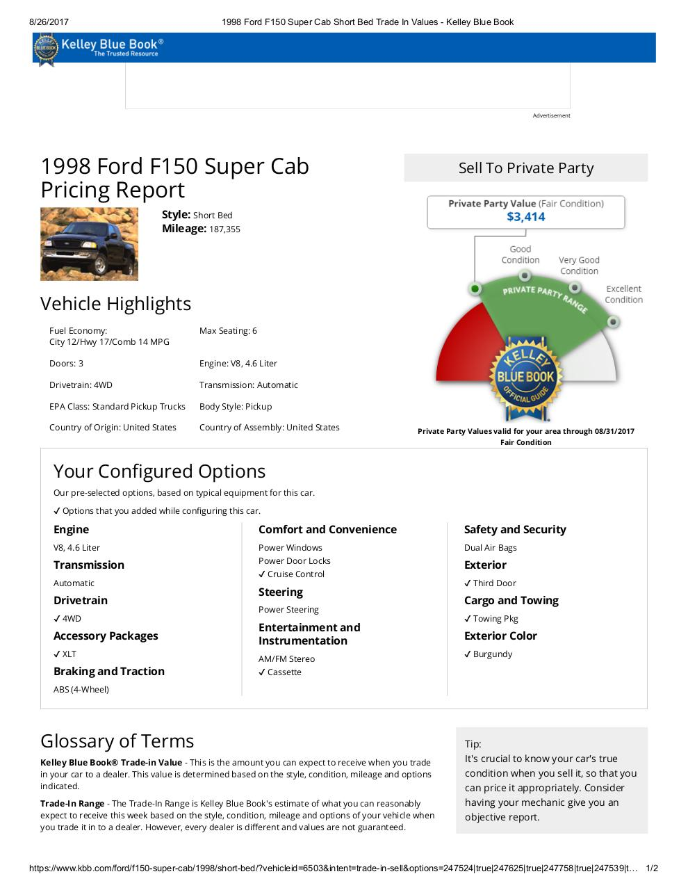 1998 Ford F150 SuperCab XLT KBB Pricing .pdf - PDF Archive