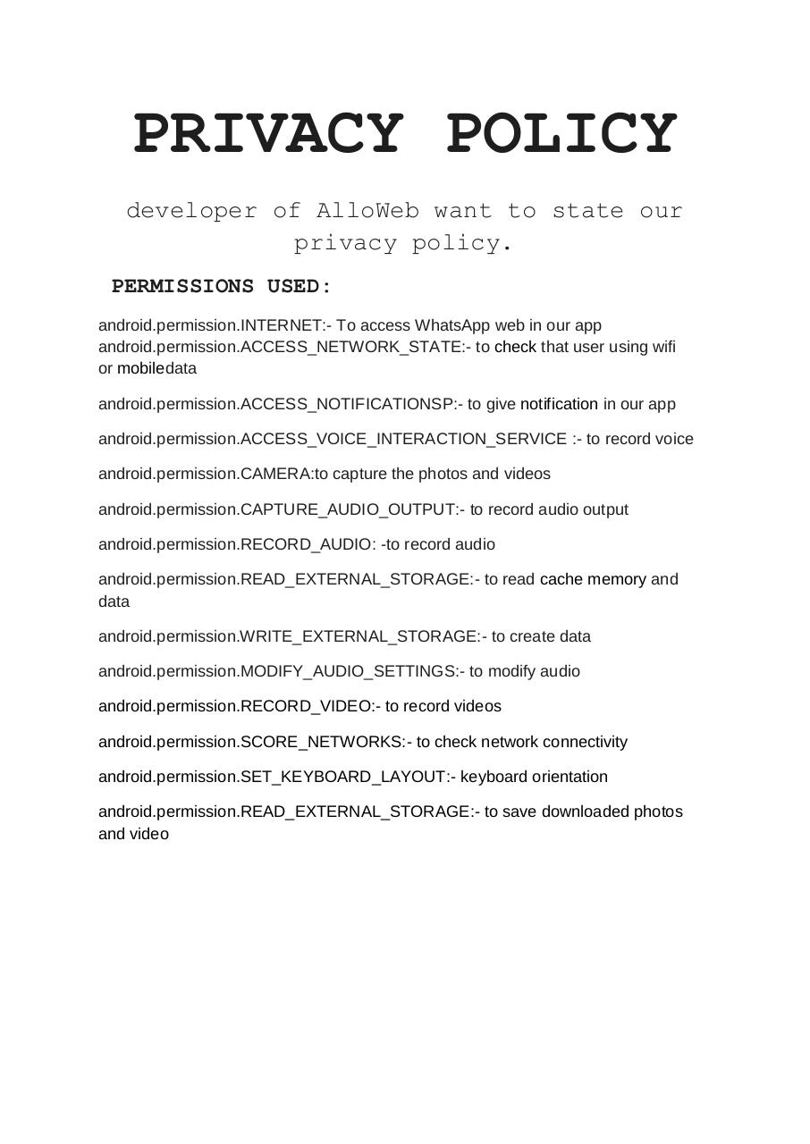 Document preview AlloWeb PRIVACY POLICY.pdf - page 1/1