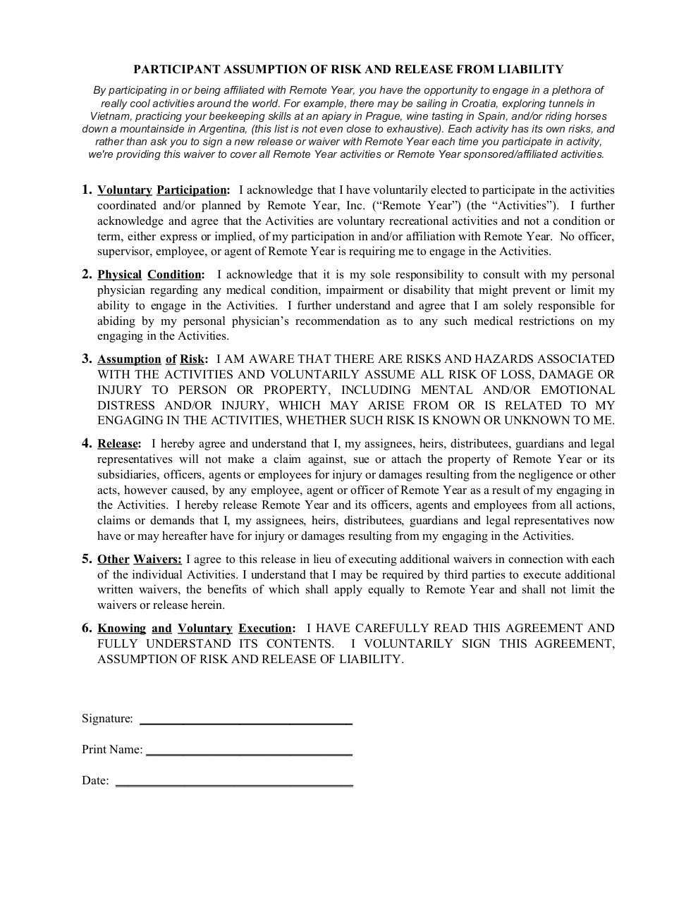 Document preview Participant Activity Waiver and Release.pdf - page 1/1