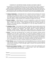 participant activity waiver and release