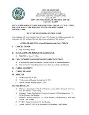 city counicil regular meeting agenda september 26 2017