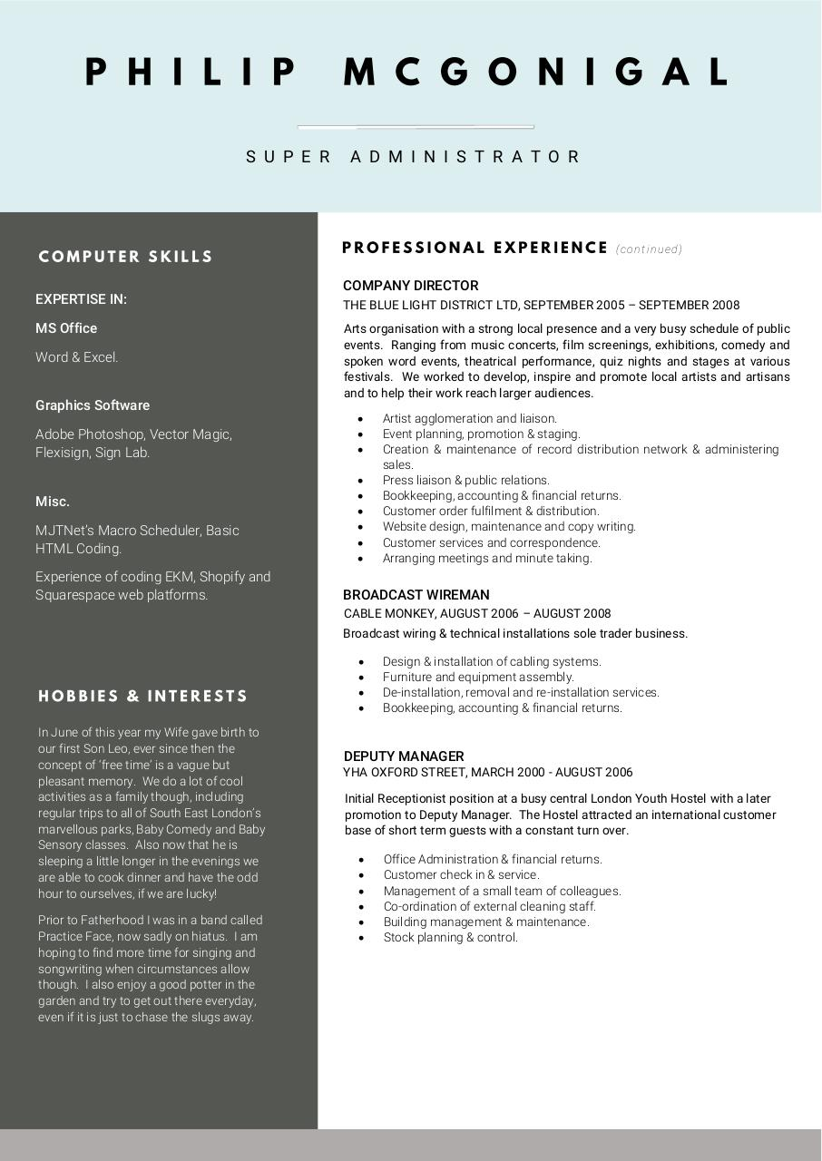 Document preview Philip McGonigal CV.pdf - page 2/2