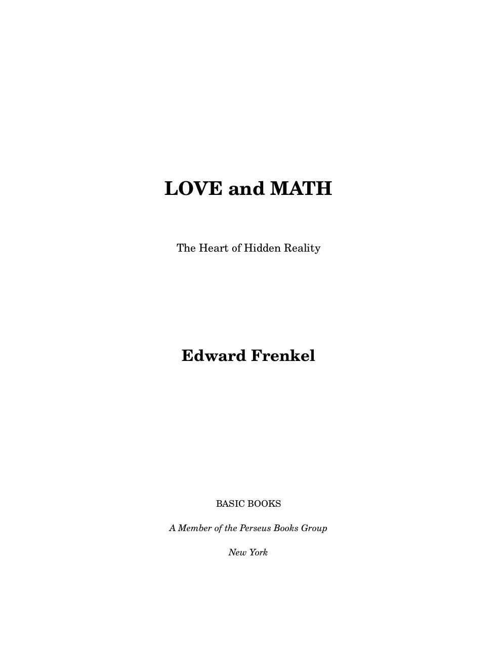 Love And Math The Heart Of Hidden Reality Pdf