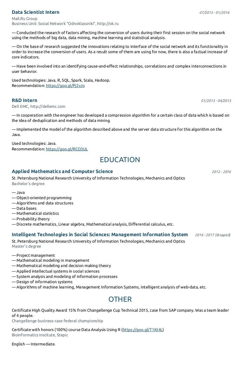 CV — Mikhail Tsvik - PDF Archive