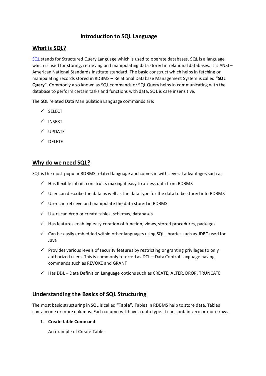 Document preview Introduction to SQL Language .pdf - page 1/4