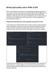 writing high quality code html css
