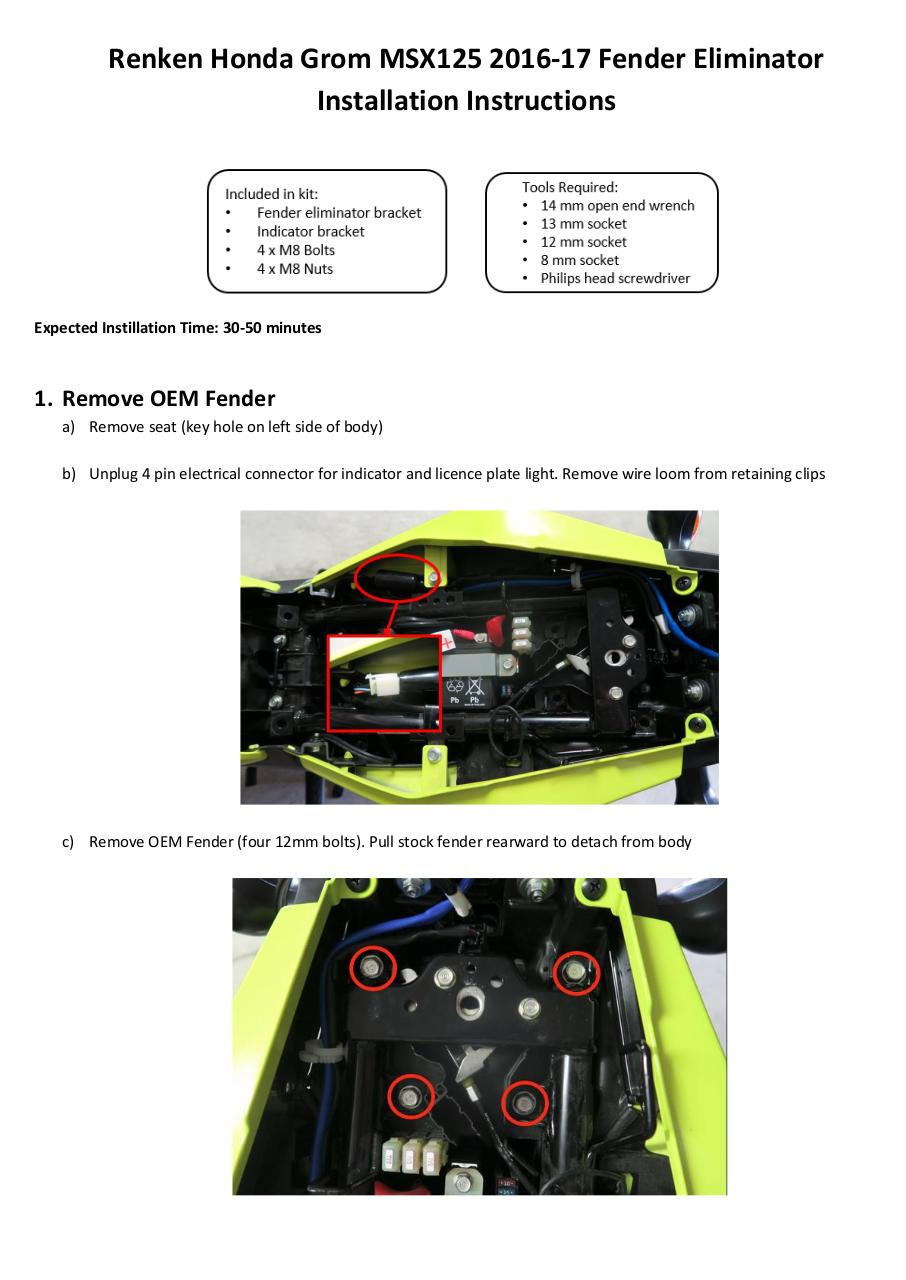 Document preview Renken Honda Grom 2016-17 Instructions.pdf - page 1/4