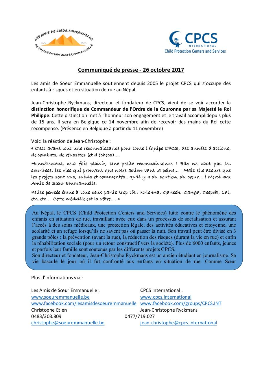 Document preview communiqué presse CPCS nomination JC171025-revised (2).pdf - page 1/1
