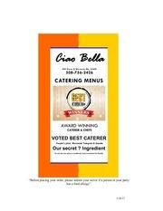 ciao bella catering menus catalog 8x11 2013