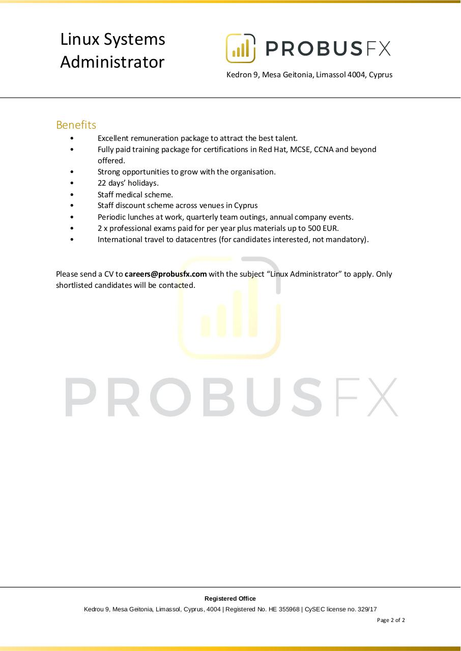 Document preview ProbusFX Linux Admin V3.pdf - page 2/2