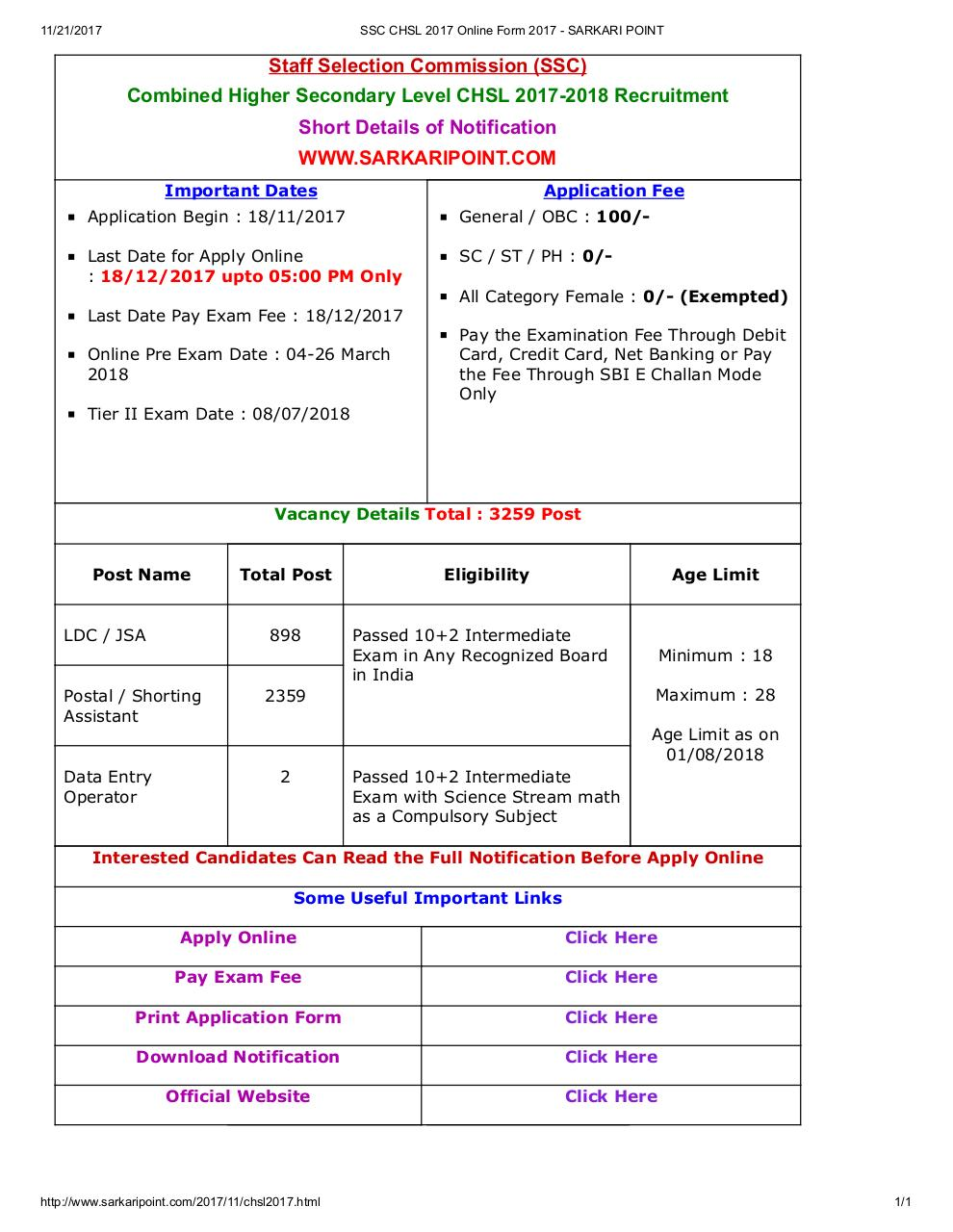 Document preview SSC CHSL 2017 Online Form 2017 - SARKARI POINT.pdf - page 1/1