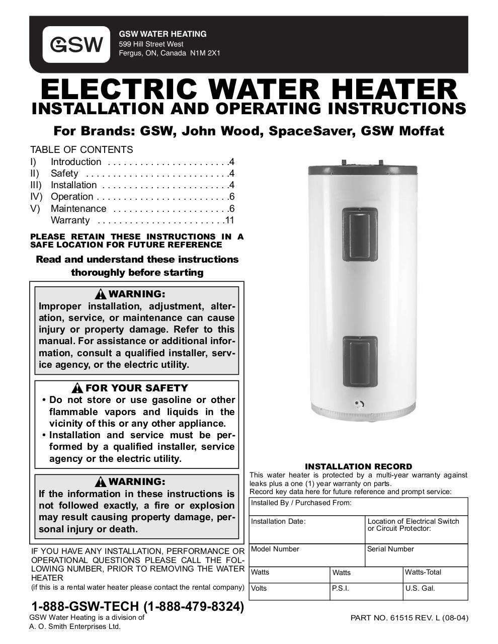 615151lqxd By Main User Townhouse Hot Water Heater Instructions How To Replace An Electric Instructionspdf Page 1 12