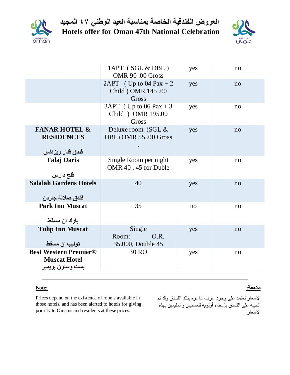 Document preview Hotels offer for Oman 47th National Celebration.pdf - page 3/3