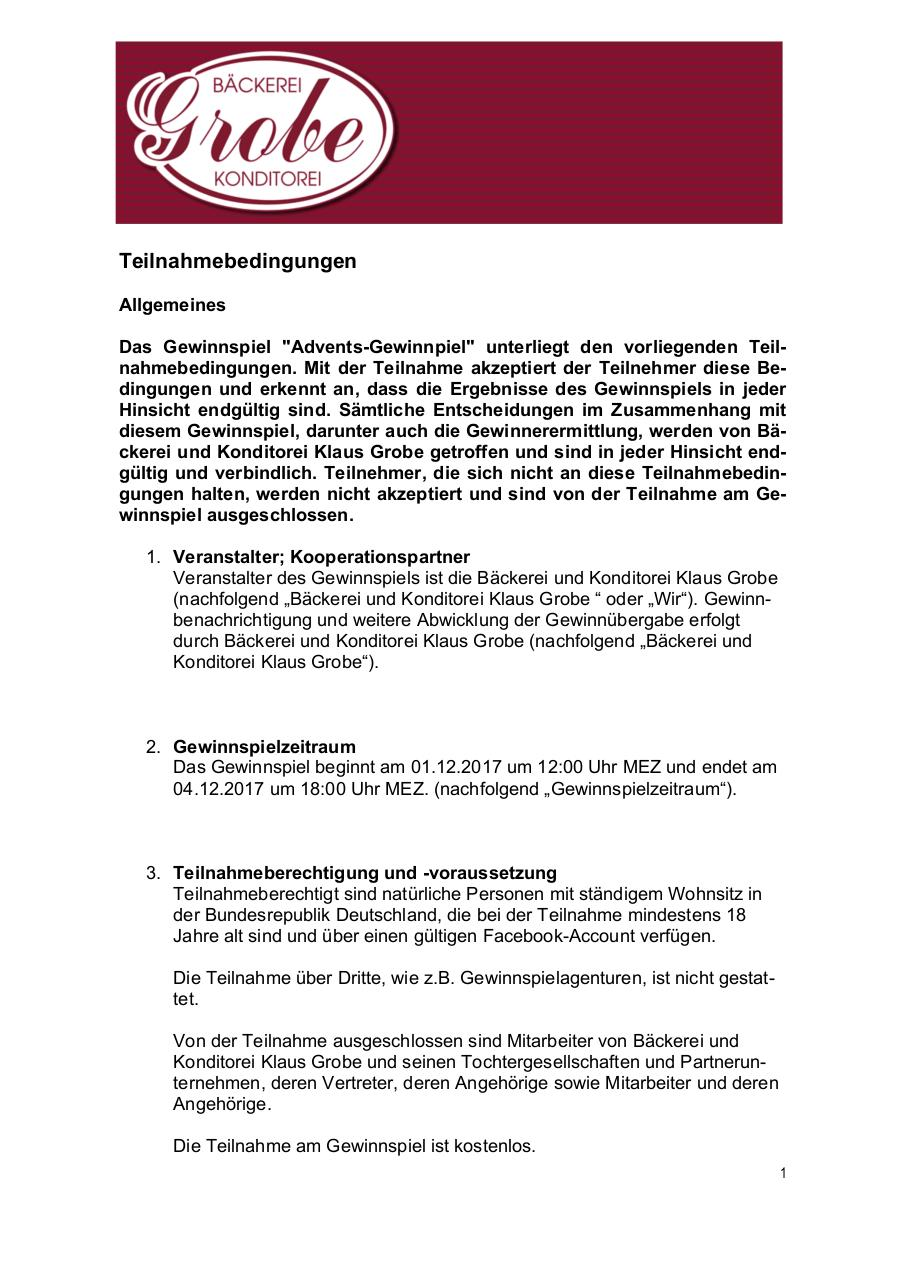Document preview 171126_BäckereiGrobe_Teilnahmebedingungen_Facebook.pdf - page 1/4