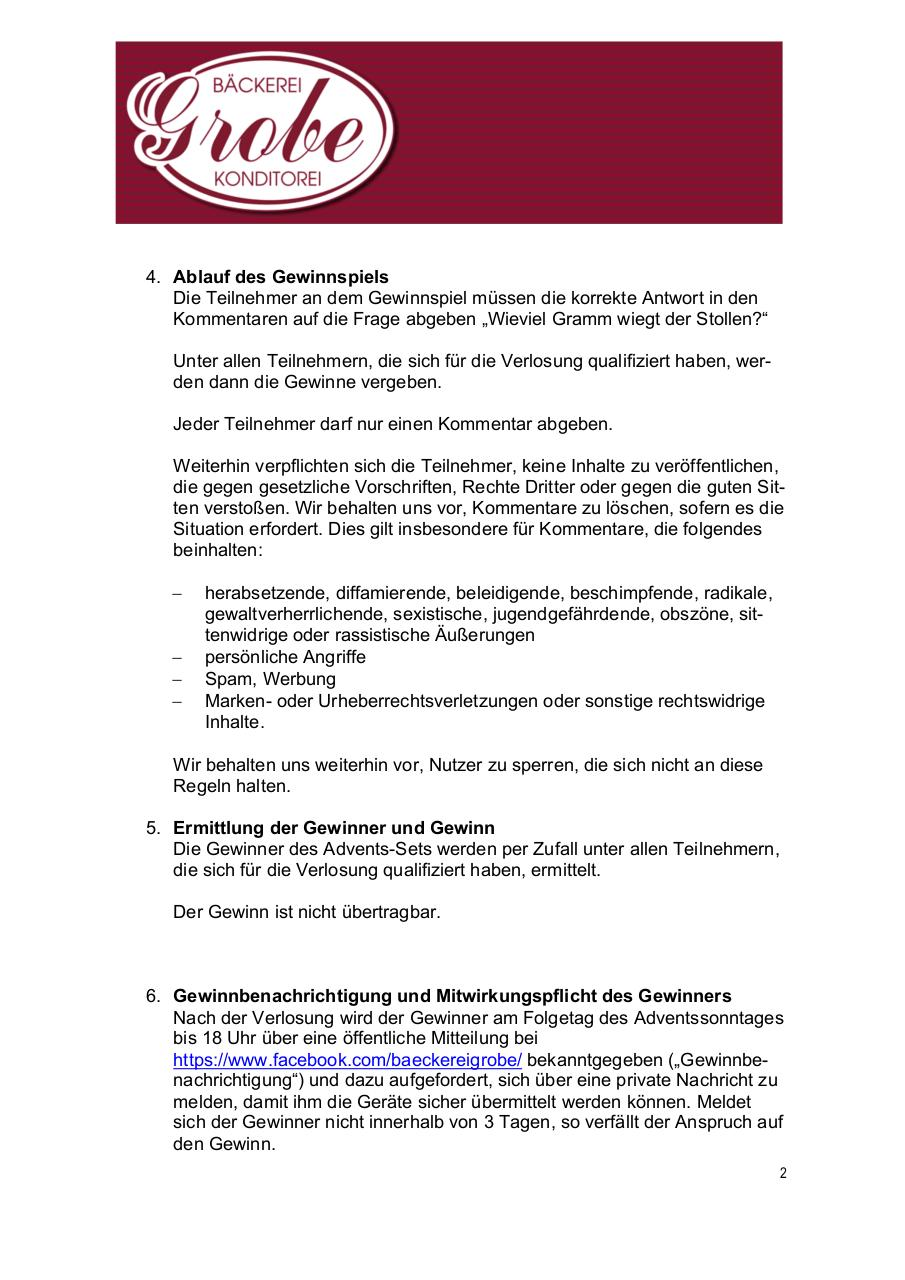 Document preview 171126_BäckereiGrobe_Teilnahmebedingungen_Facebook.pdf - page 2/4