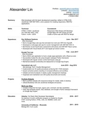 resume alexlin3 updated