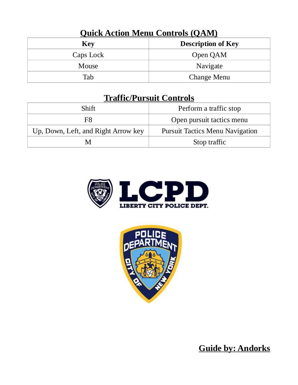 LCPDFR Control List by Andorks - LCPDFR Control List 2 pdf