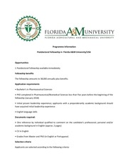 programme information postdoctoral