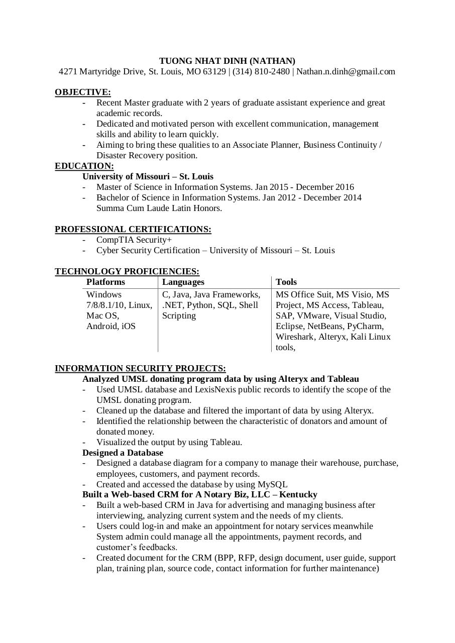 Document preview TuongDinhResume.pdf - page 1/2