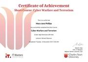 cyber warfare and terrorism certificate of achievement