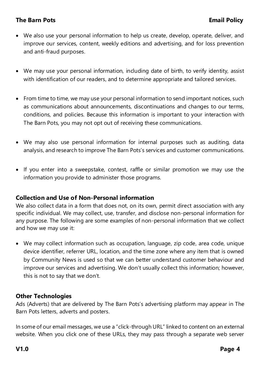 The Barn Pots - Email Policy 2018.pdf - page 4/8