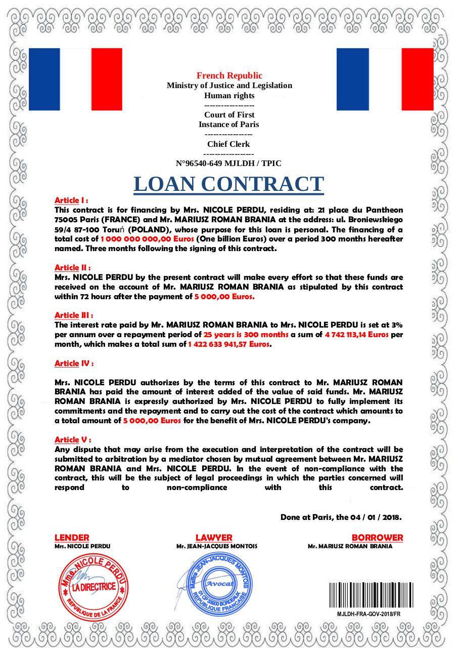 Document preview LOAN CONTRACT OF MR. MARIUSZ ROMAN BRANIA (1).pdf - page 1/1