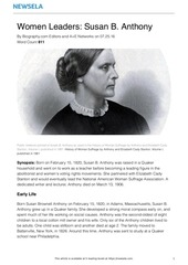 PDF Document bio women leaders susan b anthony 19516 article only