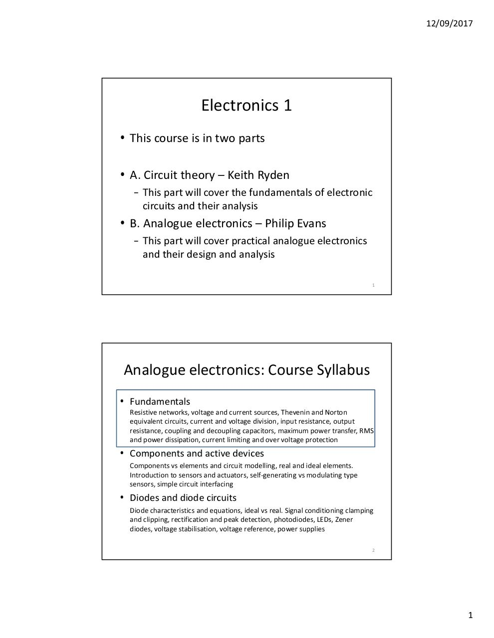 Microsoft Powerpoint Analogue Electronics 1 2017 By Pe0009 Simple Circuits 2017pdf Page 98
