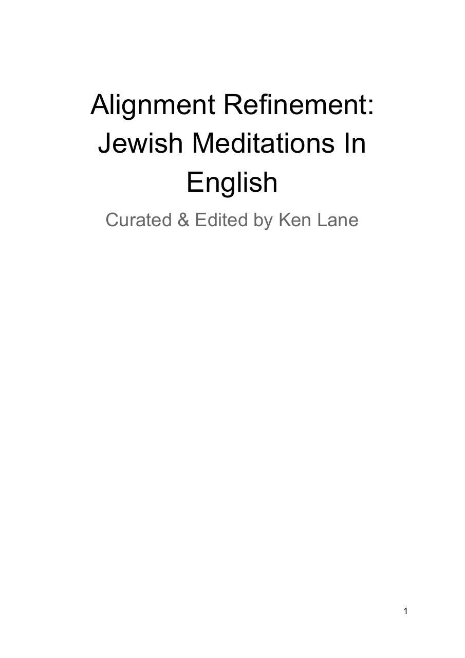 Alignment Refinement Jewish Meditations In English - PDF Archive