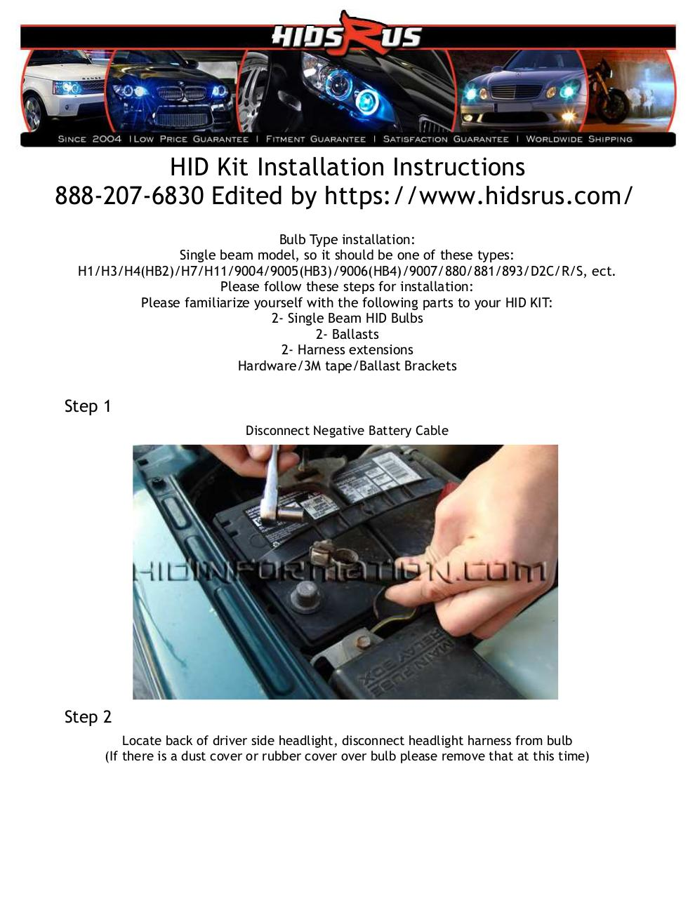 HID_Kit_Installation_Instructions.pdf - page 1/9