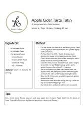 recipe apple cider tarte tatin