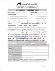 PDF Document application for employment